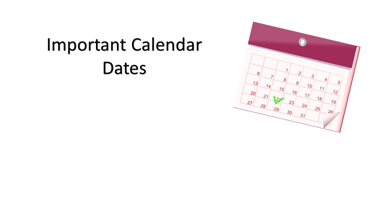 Important Calendar Dates – Oct. 2016