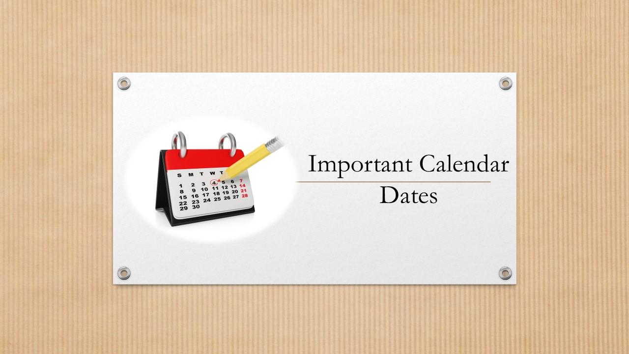Important Calendar Dates – January 2016