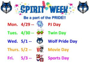 Spirit Week NEW -- 4/29-5/3