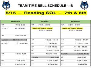 SOL schedule -- 5/15/19