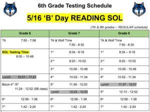 SOL Schedule -- 5/16/19