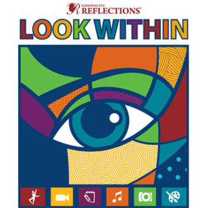 Colorful image of an eye; National PTA Reflections Look Within