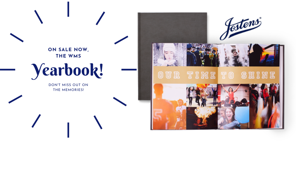 Now on sale, the WMS Yearbook! Don't miss out on the memories - Jostens - image of a school yearbook with students pictures