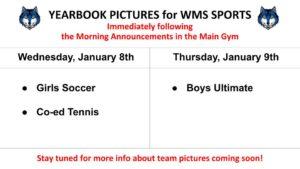 Yearbook TEAM PICS schedule
