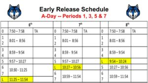 Early Release Schedule -- A-Day