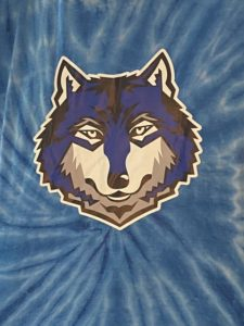 Tie-dye shirt that has the image of a wolf head