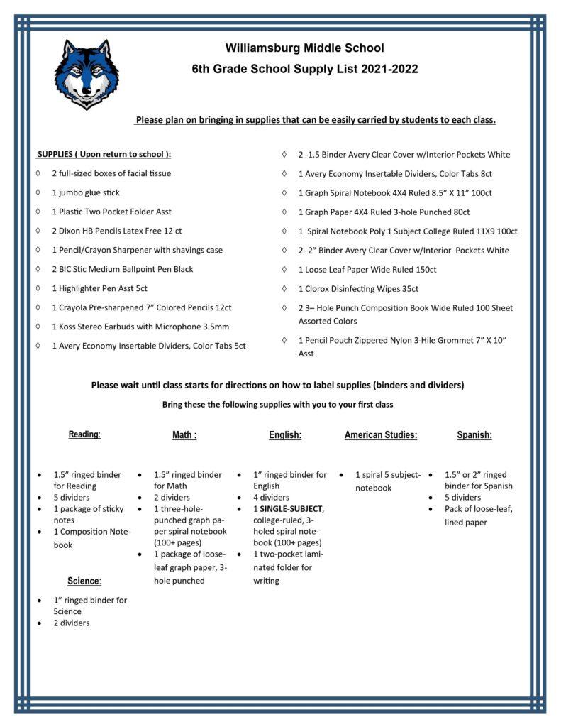 6th Grade Supply List